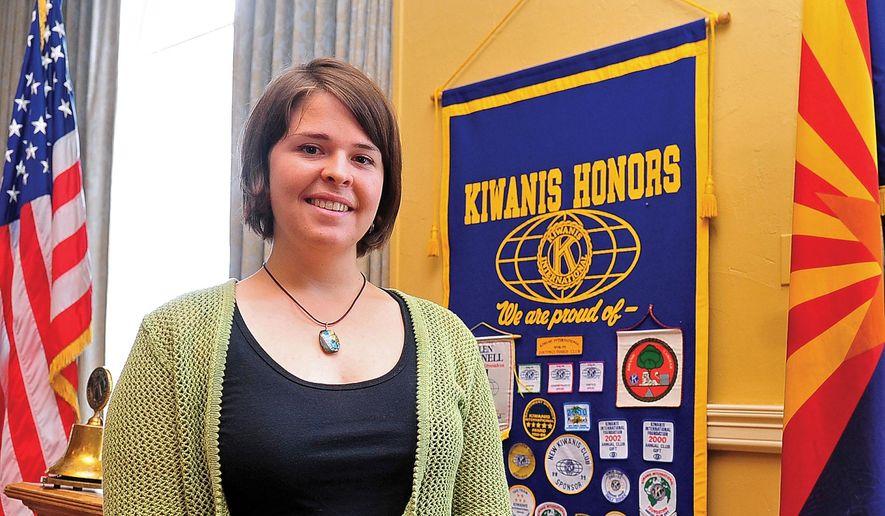 In this May 30, 2013, photo, Kayla Mueller is shown after speaking to a group in Prescott, Ariz.  The parents of an American woman held by Islamic State militants say they have been notified of her death. Carl and Marsha Mueller, the parents of Kayla Jean Mueller, released a statement on Tuesday saying they have been told that she has died. The White House also issued a statement confirming her death.The Islamic State group said Friday that the 26-year-old Mueller from Prescott, Arizona, died in a Jordanian airstrike. (AP Photo/The Daily Courier, Matt Hinshaw) MANDATORY CREDIT