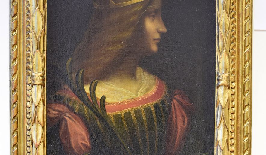 "This photo provided by the police of Swiss Canton Tessin shows the painting ""Ritratto di Isabella d'Este"" by Leonardo da Vinci, which was seized by the police of Ticino Tuesday, Feb. 10, 2015. Italian authorities have ordered the seizure from a Swiss bank vault of a portrait attributed to Leonardo da Vinci that they said was illegally removed from Italy. Italian financial police said Tuesday that Swiss authorities had seized the portrait of the Renaissance-era noble woman, Isabella D'Este, valued at 95 million euros (US$ 107 million). (AP Photo/Kantonspolizei Tessin)"
