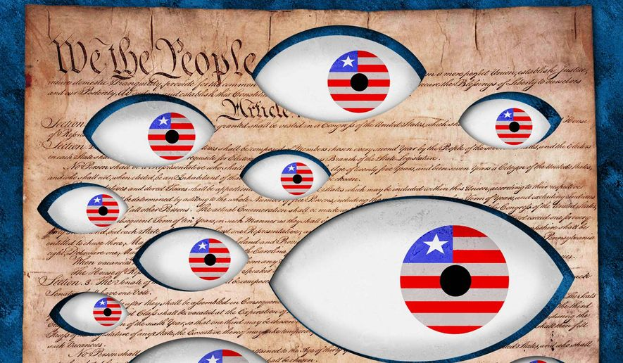 Government Spying Destroys Constitution Illustration by Greg Groesch/The Washington Times