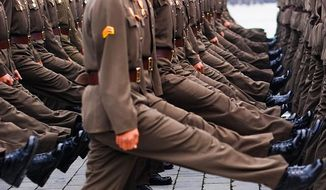North Korean soldiers take part in a military parade Feb. 8, 2015. (Image: Instagram, Jean Lee, former Associated Press reporter)