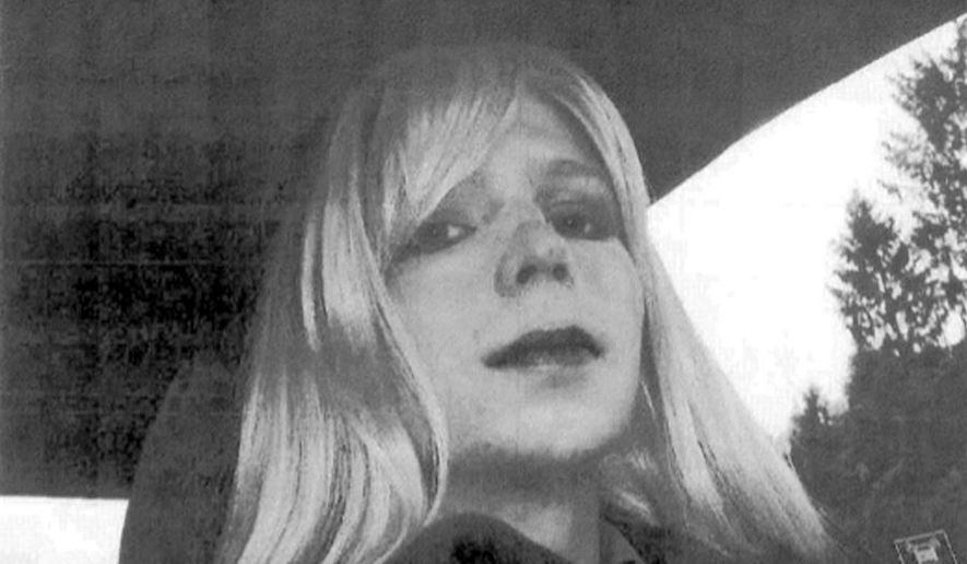 FILE - In this undated file photo provided by the U.S. Army, Pfc. Chelsea Manning poses for a photo wearing a wig and lipstick. Defense Department officials say hormone treatment for gender reassignment has been approved for Chelsea Manning, the former intelligence analyst convicted of espionage for sending classified documents to the WikiLeaks website. (AP Photo/U.S. Army, File)