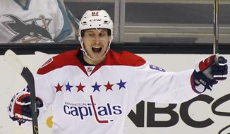 Washington Capitals' Jay Beagle, reacts after scoring a goal against the San Jose Sharks during the first period of an NHL hockey game, Wednesday, Feb. 11, 2015, in San Jose, Calif. (AP Photo/George Nikitin)
