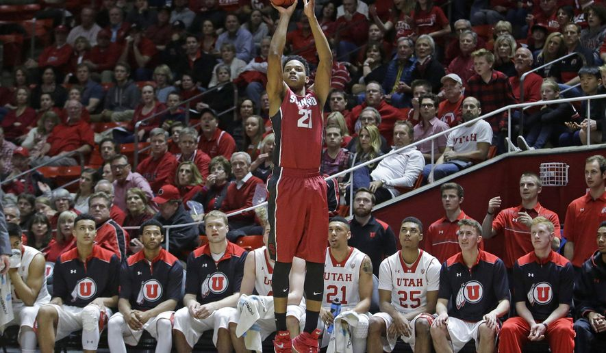 Stanford forward Anthony Brown (21) shoots in the first half during an NCAA college basketball game against Utah Thursday, Feb. 12, 2015, in Salt Lake City. (AP Photo/Rick Bowmer)