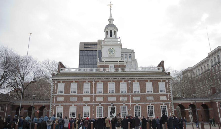 Shown is Independence Hall Thursday, Feb. 12, 2015, in Philadelphia. Democrats have selected Philadelphia as the site of the party's 2016 national convention, choosing a patriotic backdrop for the nomination of its next presidential candidate. The Democratic National Committee said Thursday, Feb. 12, 2015 the convention will be held the week of July 25, 2016. The two other finalists were Brooklyn, New York, and Columbus, Ohio.  (AP Photo/Matt Rourke)