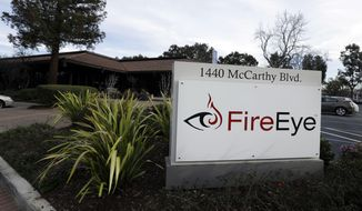 This Wednesday, Feb. 11, 2015, photo shows FireEye offices in Milpitas, Calif. The fast-growing Silicon Valley cybersecurity firm was called in when big corporations like Sony Pictures, JPMorgan Chase, Target or Anthem suffered malicious hacks and data breaches that threatened their operations and reputations. (AP Photo/Ben Margot)