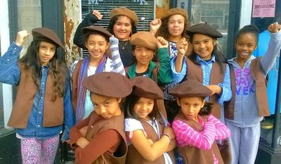"""Young members of a new girls troop in Oakland called the """"Radical Brownies"""" don brown berets and participate in """"Black Lives Matter"""" protests in order to help spread a message of racial justice. (Facebook/Radical Brownies)"""