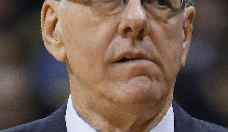 Syracuse head coach Jim Boeheim walks in front of his bench in the first half of an NCAA college basketball game against Pittsburgh, Saturday, Feb. 7, 2015, in Pittsburgh. Pittsburgh won 83-77. (AP Photo/Keith Srakocic)