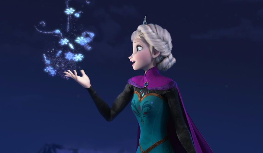 "This image released by Disney shows Elsa the Snow Queen, voiced by Idina Menzel, in a scene from the animated feature ""Frozen."" Disney Theatrical Productions said Friday that the husband-and-wife team of Robert Lopez and Kristen Anderson-Lopez will be working on the stage version of ""Frozen"" and Jennifer Lee, co-director and screenwriter of the film, is writing the book.  (AP Photo/Disney, File)"