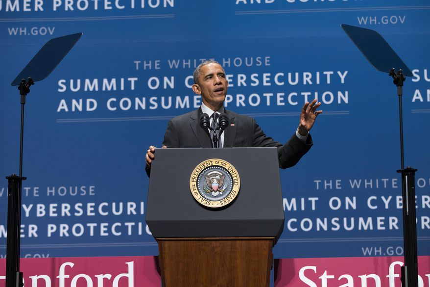 """President Barack Obama speaks during a summit on cybersecurity and consumer protection, Friday, Feb. 13, 2015, at Stanford University in Palo Alto, Calif. The president said cyberspace is the new """"wild West"""" _ with daily attempted hacks and people looking to the government to be the sheriff. He's asking the private sector to do more to help.  (AP Photo/Evan Vucci)"""
