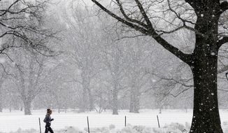 A jogger runs in the snow, Thursday, Feb. 12, 2015, in New York's Central Park. It will be mostly cloudy in the New York metro area with the possibility of snow and rain Thursday. (AP Photo/Mary Altaffer)