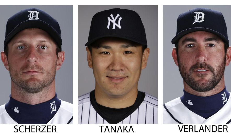 FILE - These are recent file photos showing baseball pitchers, from left, then-Detroit Tigers' Max Scherzer, Masahiro Tanaka, Jason Verlander and Barry Zito. Max Scherzer and Jon Lester report to spring training with new teams next week, swelling the $100 million pitcher club to 16 members. (AP Photo/File)