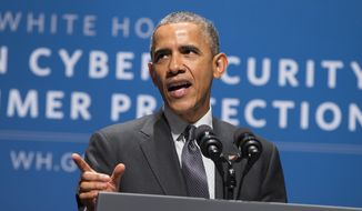 President Barack Obama speaks during a summit on cybersecurity and consumer protection, Friday, Feb. 13, 2015, at Stanford University in Palo Alto, Calif. (AP Photo/Evan Vucci) ** FILE **