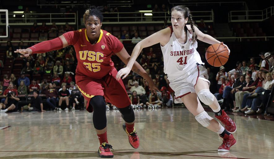 Stanford forward Bonnie Samuelson, right, dribbles next to Southern California forward Kristen Simon during the second half of an NCAA college basketball game Friday, Feb. 13, 2015, in Stanford, Calif. Stanford won 79-60. (AP Photo/Marcio Jose Sanchez)