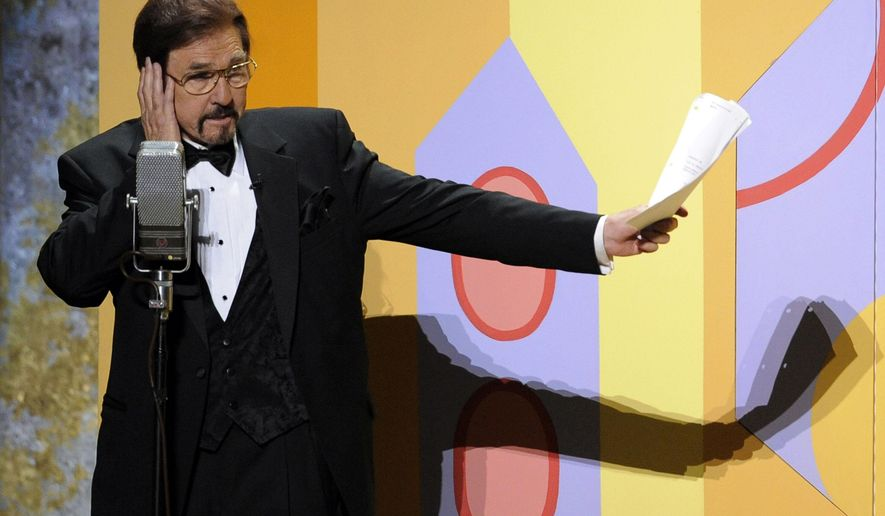 """FILE-This Sept. 21, 2008 file photo Gary Owens performs in a skit at the 60th Primetime Emmy Awards in Los Angeles. Owens, best known for announcing """"Rowan and Martin's Laugh-In,"""" died, Thursday, Feb. 12, 2015 at his Los Angeles-area home. He was 80 years old.  (AP Photo/Mark J. Terrill, File)"""