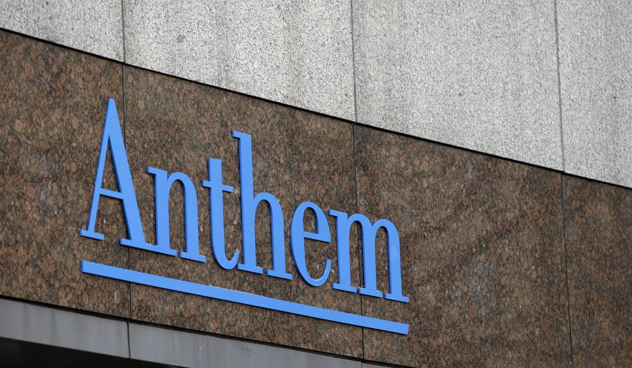 FILE - This Wednesday, Dec. 3, 2014, file photo, shows the Anthem logo at the company's corporate headquarters in Indianapolis. Anthem Inc., said Friday, Feb. 13, 2015, that it is offering several levels of free identity theft protection to current and former customers after hackers broke into a database storing information for about 80 million people. (AP Photo/Darron Cummings, File)