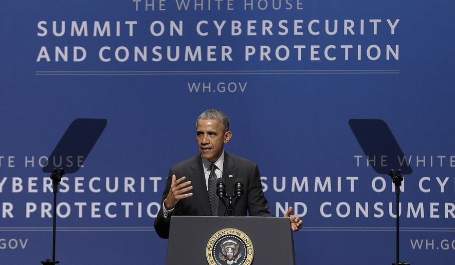 President Barack Obama speaks at the White House Summit on Cybersecurity and Consumer Protection in Stanford, Calif., Friday, Feb. 13, 2015. (AP Photo/Jeff Chiu)