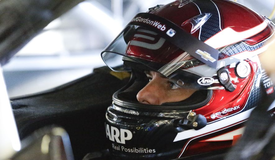 Jeff Gordon prepares to go out on the track during a practice session for the NASCAR Sprint Cup Series auto race at Daytona International Speedway, Friday, Feb. 13, 2015, in Daytona Beach, Fla. (AP Photo/John Raoux)