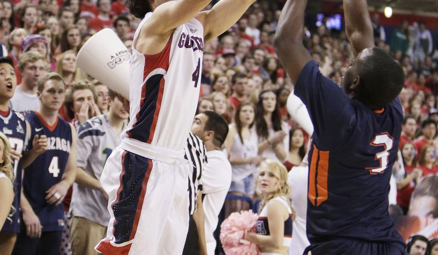 Gonzaga's Kevin Pangos (4) shoots against Pepperdine's Jeremy Major (3) during the first half of an NCAA college basketball game, Saturday, Feb. 14, 2015, in Spokane, Wash. (AP Photo/Young Kwak)