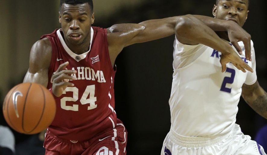 Oklahoma guard Buddy Hield (24) fouls Kansas State guard Marcus Foster (2) during the first half of an NCAA college basketball game at Bramlage Coliseum in Manhattan, Kan., Saturday, Feb. 14, 2015. (AP Photo/Orlin Wagner)