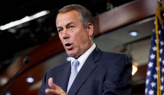 """""""The House has acted. We've done our job. Senate Democrats are the ones putting us in this precarious position,"""" Speaker John A. Boehner said about a bill to fund Homeland Security and defund amnesty. (Associated Press)"""