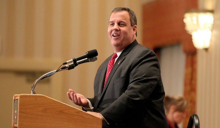 New Jersey Gov. Chris Christie speaks at the 3rd Annual Lincoln-Reagan Dinner at The Grappone Center, Monday, Feb. 16, 2015 in Concord, N.H. It is Christie's first trip to New Hampshire since the November election. (AP Photo/Mary Schwalm)