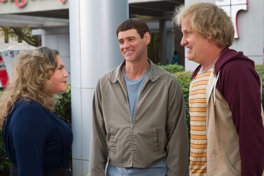 """This image released by Universal Pictures shows Kathleen Turner, from left, Jim Carrey, and Jeff Daniels in a scene from """"Dumb and Dumber To."""" (AP Photo/Universal Pictures, Hopper Stone)"""