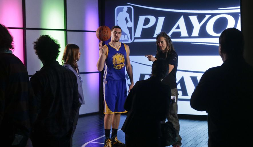 In this Feb. 12, 2015, photo, Golden State Warriors' Klay Thompson takes part in a video shoot in New York. Thompson made his first All-Star appearance Sunday, Feb. 15, at Madison Square Garden. (AP Photo/Frank Franklin II)