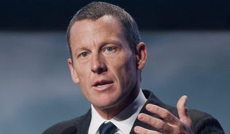 In this Aug. 29, 2012 file photo, Lance Armstrong speaks to delegates at the World Cancer Congress in Montreal. A three-man arbitration panel has ordered Armstrong and Tailwind Sports to pay $10 million in a fraud dispute with SCA Promotions, the promotions company announced Monday, Feb. 16, 2015. (AP Photo/The Canadian Press, Graham Hughes, File)