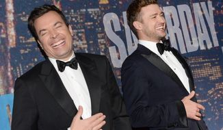 Jimmy Fallon, left, and Justin Timberlake attend the SNL 40th Anniversary Special at Rockefeller Plaza on Sunday, Feb. 15, 2015, in New York. (Photo by Evan Agostini/Invision/AP)