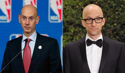 NBA Commissioner Adam Silver and actor Jim Rash. AP photos