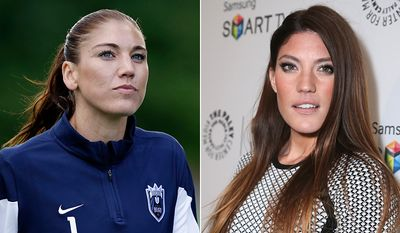 Professional soccer and olympic goalie Hope Solo and actress  Jennifer Carpenter. AP photos