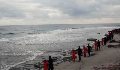 Egypt's government said its fighter jets pounded Islamic State camps and arms depots across the border in Libya, in the morning and in the afternoon, in response to a horrific video the terrorist group posted showing the beheadings of 21 Egyptian Coptic Christians. (Associated Press)