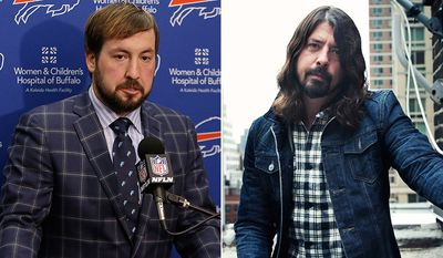 Buffalo Bills quarterback Kyle Orton and Rock musician Dave Grohl. AP photos