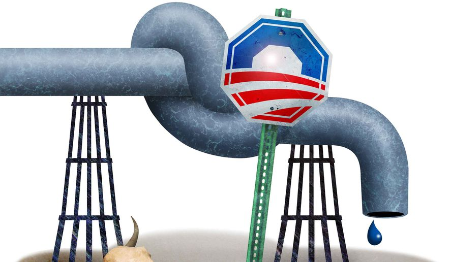Pipeline Stop Sign Illustration by Greg Groesch/The Washington Times