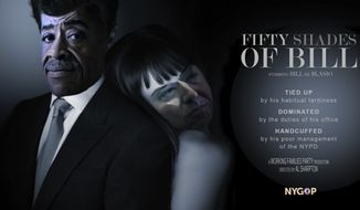 "New York state Republicans mocked Mayor Bill de Blasio's cozy relationship with Rev. Al Sharpton by issuing a parody poster of the two as ""Fifty Shades of Grey"" characters. (NYGOP)"
