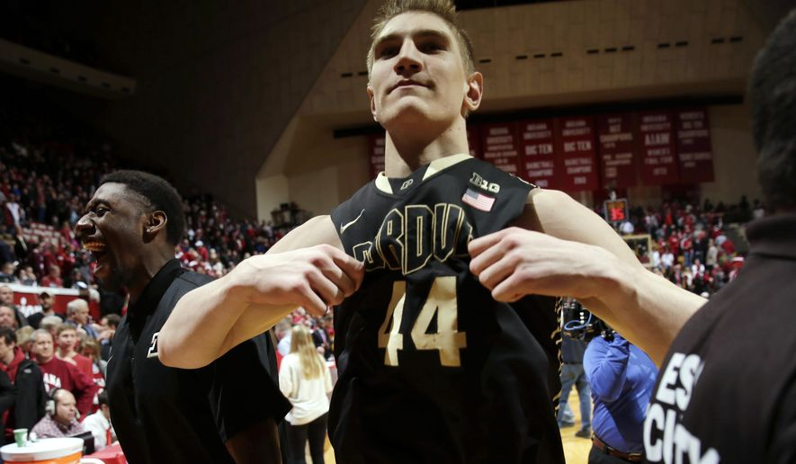 Purdue center Isaac Haas (44) celebrates after Purdue defeated Indiana 67-63 in an NCAA college basketball game in Bloomington, Ind., Thursday, Feb. 19, 2015. (AP Photo/AJ Mast)