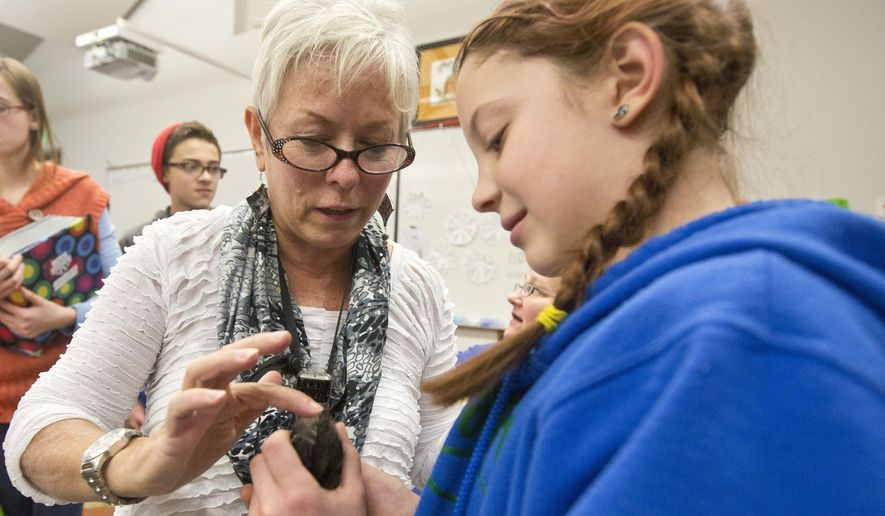 In this Feb. 11, 2015, photo, Blandford School teacher Cheri McKay assist her student Iris Van Dyke with inspecting a chick for an assignment at Blandford School in Grand Rapids, Mich. Students at the school were hard at work taking care of 125 baby chickens for their egg business. (AP Photo/The Grand Rapids Press, Hugh Carey) ALL LOCAL TELEVISION OUT; LOCAL TV INTERNET OUT