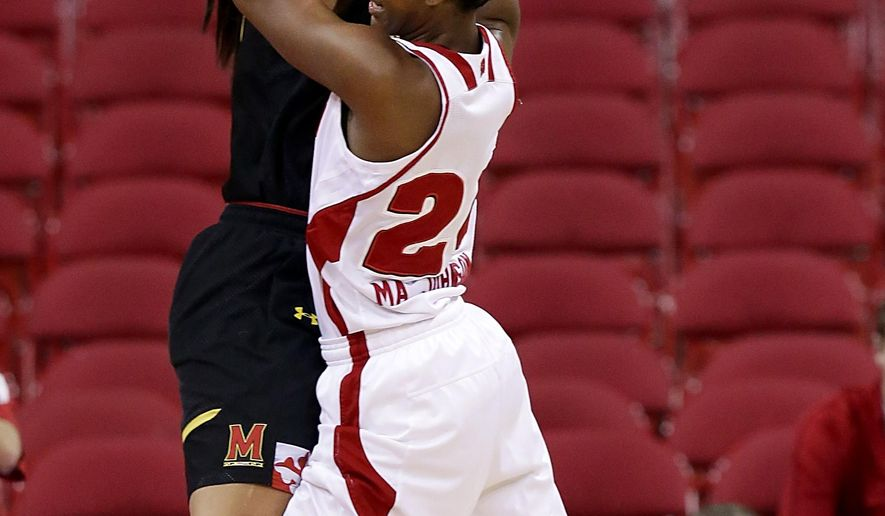 Wisconsin's Malayna Johnson, right, tries to drive past Maryland's Brionna Jones during the first half of an NCAA college basketball game Thursday, Feb. 19, 2015, in Madison, Wis.  (AP Photo/Craig Schreiner)