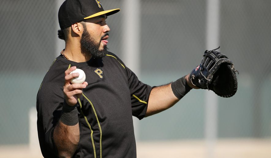 Pittsburgh Pirates' Pedro Alvarez warms up during an informal spring training baseball workout in Bradenton, Fla., Thursday, Feb. 19, 2015.  Pirates pitchers and catcher get underway with the first official workout of the spring this afternoon. (AP Photo/Gene J. Puskar)