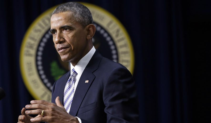 President Barack Obama speaks at the White House Summit on Countering Violent Extremism, Wednesday, Feb. 18, 2015, in the South Court Auditorium of the Eisenhower Executive Office Building on the White House Complex in Washington. (AP Photo/Jacquelyn Martin)