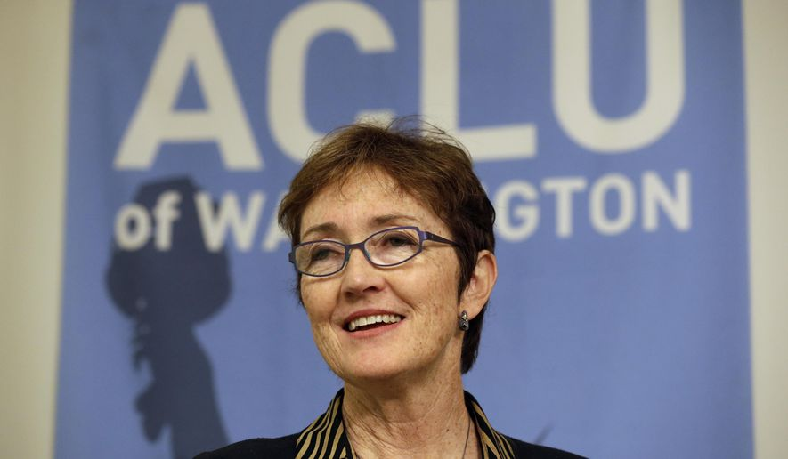 Executive Director Kathleen Taylor speaks at a news conference announcing a lawsuit filed by the American Civil Liberties Union of Washington to make sure public hospitals are following the state's abortion rights law, Thursday, Feb. 19, 2015, in Seattle. The ACLU said it is suing one public hospital district, Skagit Regional Health, and sending warning letters to three others over what it considers violations of the law. The lawsuit says Skagit Regional Health provides a wide array of maternity care services but does not provide medication abortions and rarely provides surgical abortions. (AP Photo/Elaine Thompson)