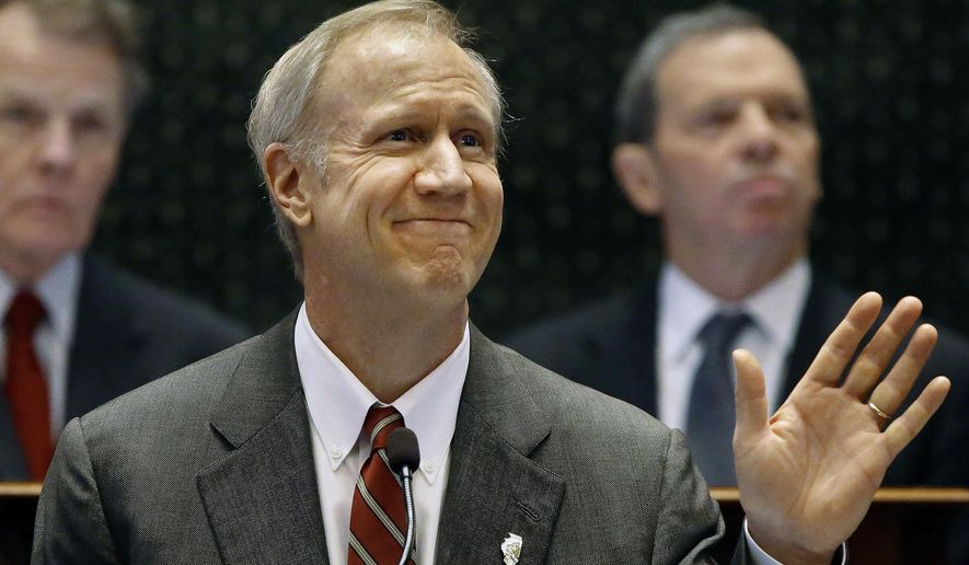 In this Wednesday, Feb. 18, 2015 photo, Illinois Gov. Bruce Rauner delivers his State of the Budget Address to a joint session of the General Assembly in Springfield Ill. Rauner may have proposed a budget that includes no new taxes, but any Illinois resident who thinks they've dodged an increase may want to wait a bit. Democrats say they'll continue to push for a hike, either in Illinois' income tax or other sources, to avoid some of the huge cuts the GOP governor proposed. (AP Photo/Seth Perlman)