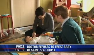 Krista and Jami Contreras are upset after they say a Michigan doctor refused to treat their newborn because of her religious beliefs against homosexuality. (FOX 2 Detroit)
