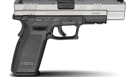 SRINGFIELD XD- XD (X-treme Duty) are a series of semi-automatic pistol that are polymer-framed and striker-fired. Manufactured in the city of Karlovac, Croatia by HS Produkt, the Springfield Armory XD, XDM, or XD-S is the marketing name for the weapon, which is licensed and sold in the United States by Springfield Armory, Inc.  They use a polymer frame with steel inserts, mounting rail and trigger-mounted safety. An indicator protrudes from the rear of the slide when the striker is cocked. A loaded chamber indicator pivots up on top of the slide when a round is in the chamber being both visual and tactile. An ambidextrous magazine release is also standard. Take down of the pistol is through a lever on the left side of the frame that rotates up, allowing the slide to move forward off the frame.