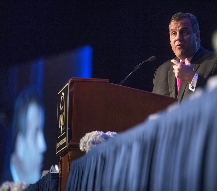 New Jersey Gov. Chris Christie speaks at the New Jersey Chamber of Commerce's Walk to Washington and Congressional Dinner event at the Marriott Wardman Park Hotel on Thursday, Feb. 19, 2015, in Washington. (AP Photo/Kevin Wolf)