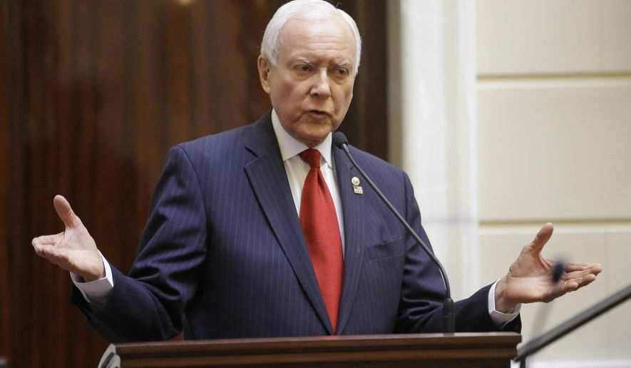 Republican Sen. Orrin Hatch, Utah's senior senator, speaks to the Utah Senate during his annual report to the state Legislature Thursday, Feb. 19, 2015, in Salt Lake City. Hatch spoke to Utah's House and Senate about his work in Washington, D.C. (AP Photo/Rick Bowmer)