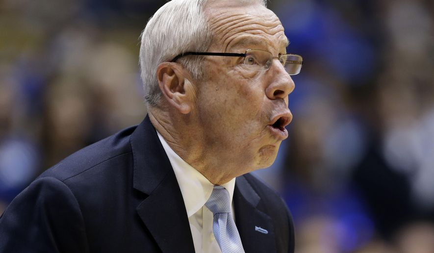 North Carolina coach Roy Williams reacts during the second half of Duke's 92-90 win in overtime in an NCAA college basketball game in Durham, N.C., Wednesday, Feb. 18, 2015. (AP Photo/Gerry Broome)