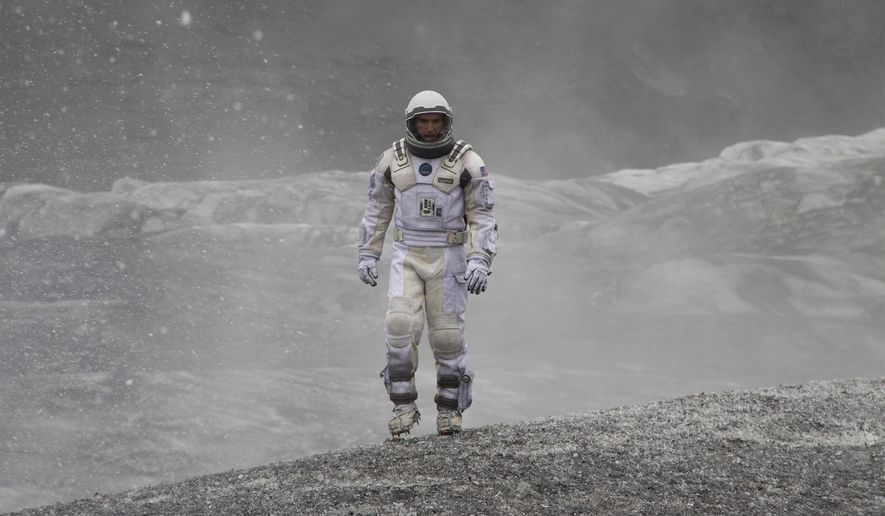 """This photo released by Paramount Pictures shows, Matthew McConaughey, in a scene from the film, """"Interstellar,"""" from Paramount Pictures and Warner Brothers Pictures, in association with Legendary Pictures. The film, directed by Christopher Nolan, has five Oscar nominations, including Hans Zimmer for music - original score. The 87th annual Academy Awards are held on Sunday, Feb. 22, 2015, in Los Angeles.  (AP Photo/Paramount Pictures, Melinda Sue Gordon)"""