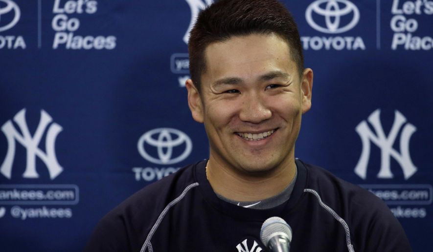 New York Yankees starting pitcher Masahiro Tanaka smiles during a news conference at spring training baseball, Friday, Feb. 20, 2015, in Tampa, Fla. Yankees pitchers and catchers begin official workouts Feb. 21. (AP Photo/Lynne Sladky)