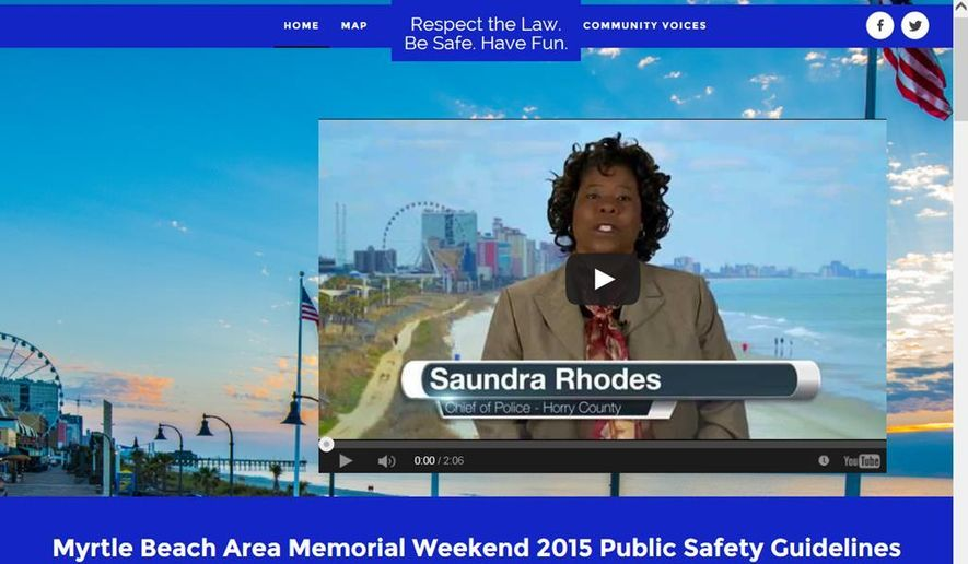 This computer screen shot taken on Friday, Feb. 20, 2015, in Charleston, S.C., shows a new website that is part of a campaign by Myrtle Beach, S.C., officials to let visitors know of changes being made during the upcoming Memorial Day weekend to maintain public safety. Three people died and seven were wounded in the area last Memorial Day weekend during the Atlantic Beach Bikefest in Atlantic Beach, S.C. (AP Photo/Bruce Smith)
